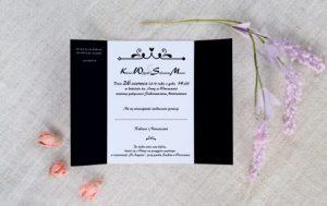 tanie ślubne zaproszenie w kolorze czerni i bieli